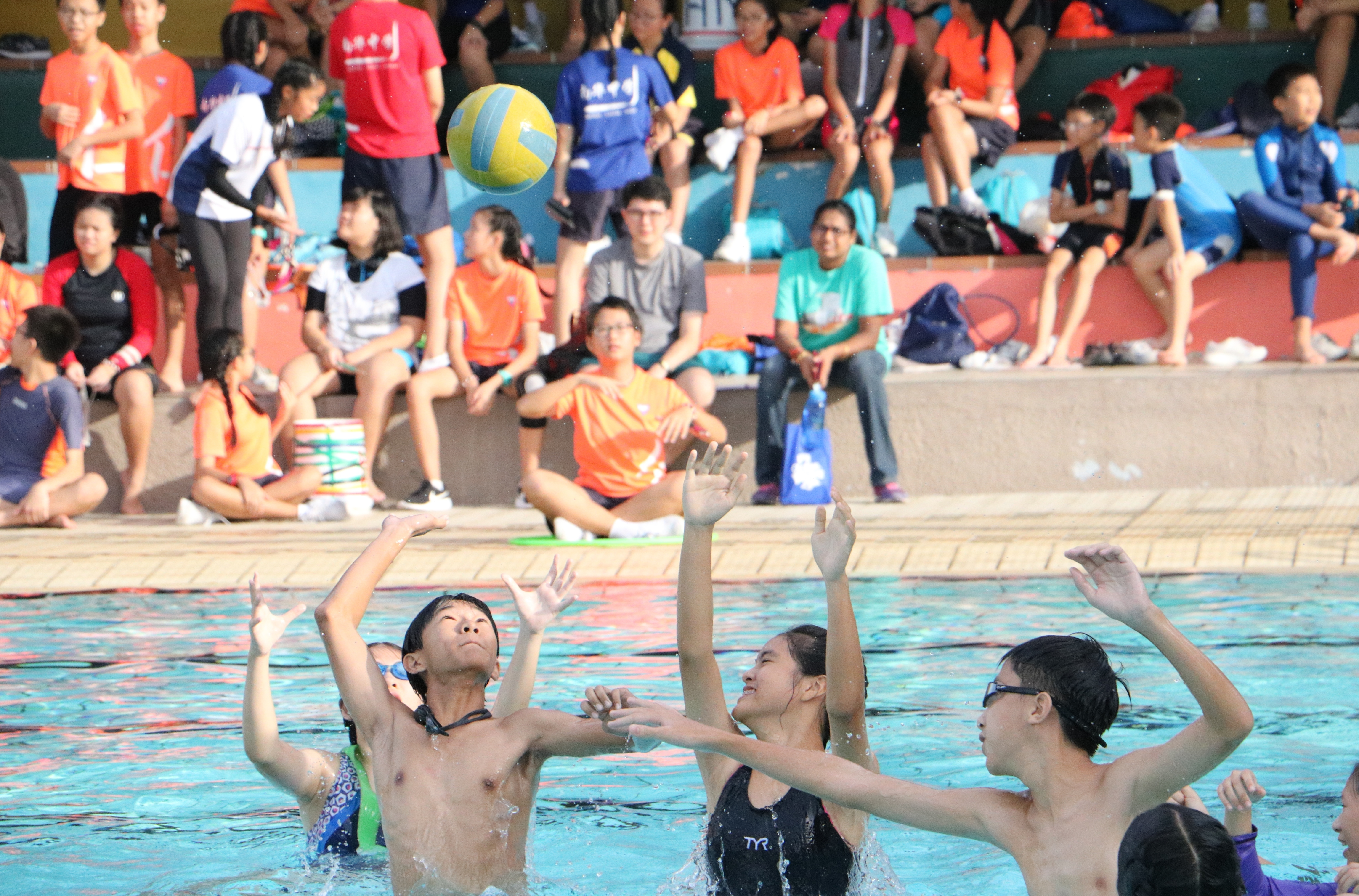 9. Going for the ball during the Secondary 1 modified water polo game.JPG